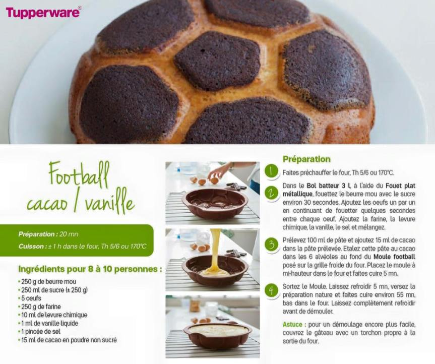 Recette : gâteau football cacao/vanille